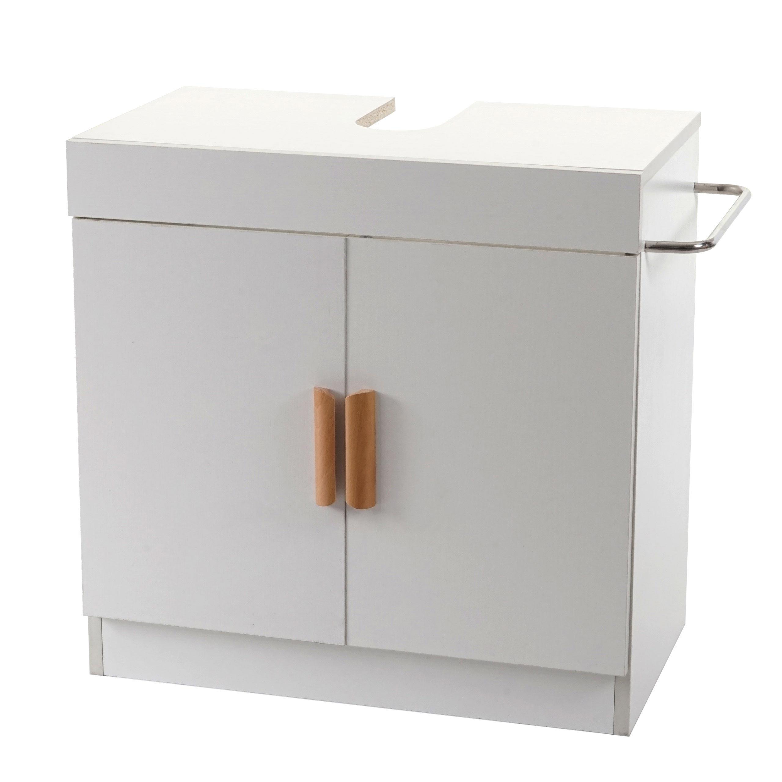 Waschbeckenunterschrank HWC D20 Badschrank mit Staufach Badezimmer  Unterschrank ~ weiß
