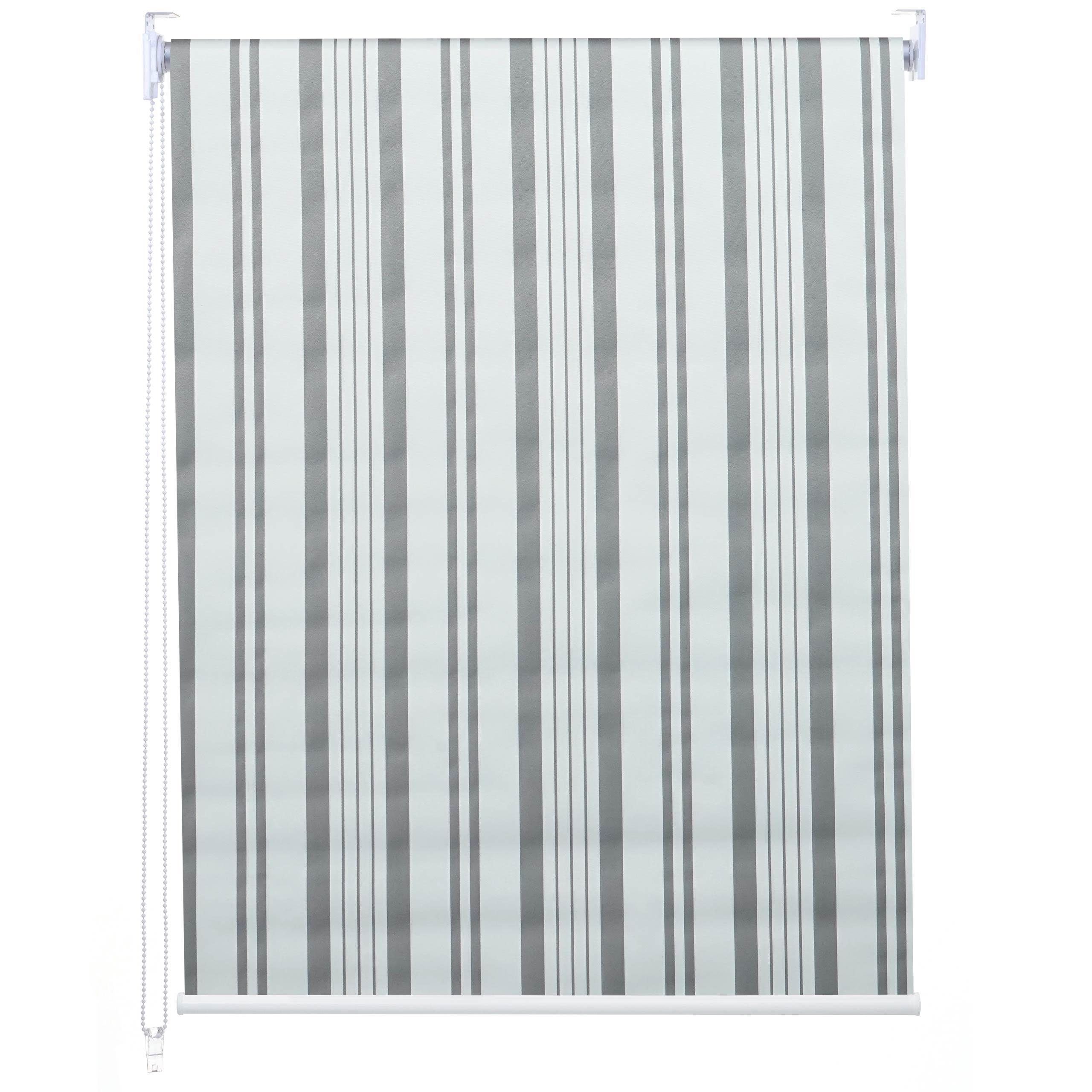 Rollo HWC D52 Fensterrollo Seitenzugrollo Jalousie Sonnenschutz Verdunkelung Blickdicht 40x160cm Grau Weiss