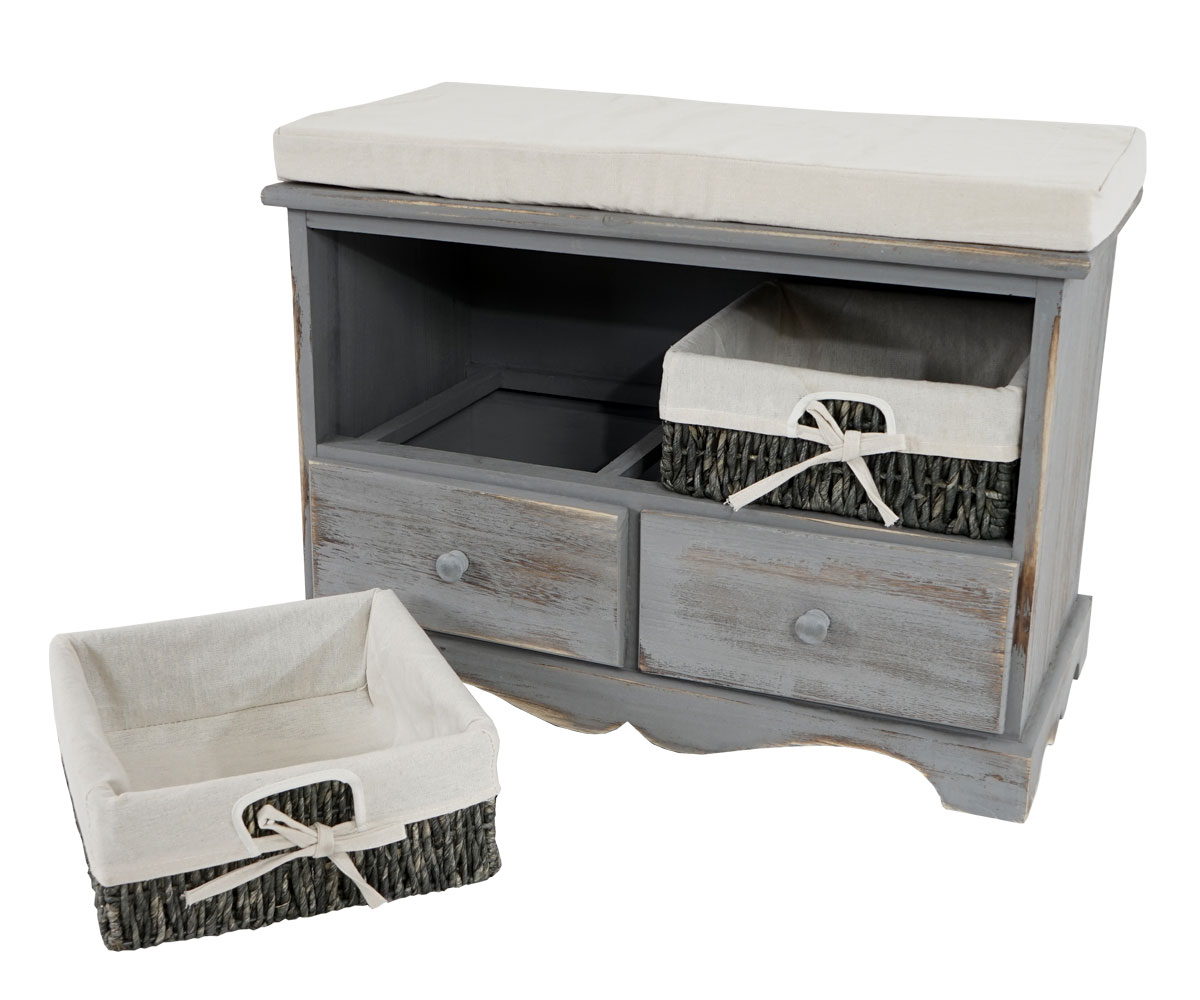 sitzbank kommode mit 2 k rben garderobe shabby look. Black Bedroom Furniture Sets. Home Design Ideas