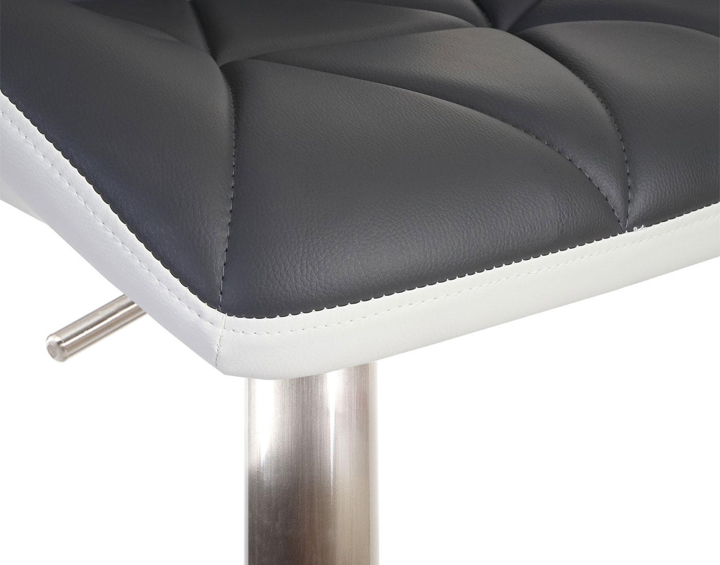 2x Barhocker HWC-A92, Kunstleder grau, Fuß gebürstet