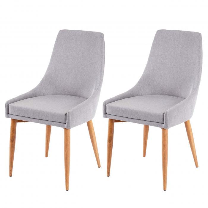 2x Esszimmerstuhl HWC B44 II, Stuhl Küchenstuhl Retro Design ~ StoffTextil grau
