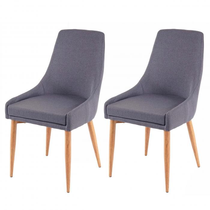 2x Esszimmerstuhl HWC B44 II, Stuhl Küchenstuhl Retro Design ~ StoffTextil dunkelgrau