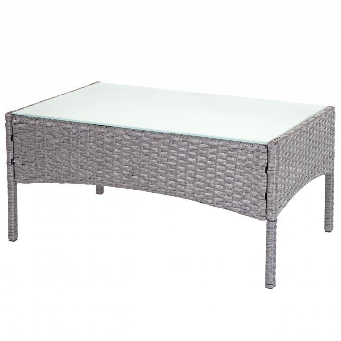 Poly Rattan Gartentisch Halden Beistelltisch Tisch Mit Glasplatte