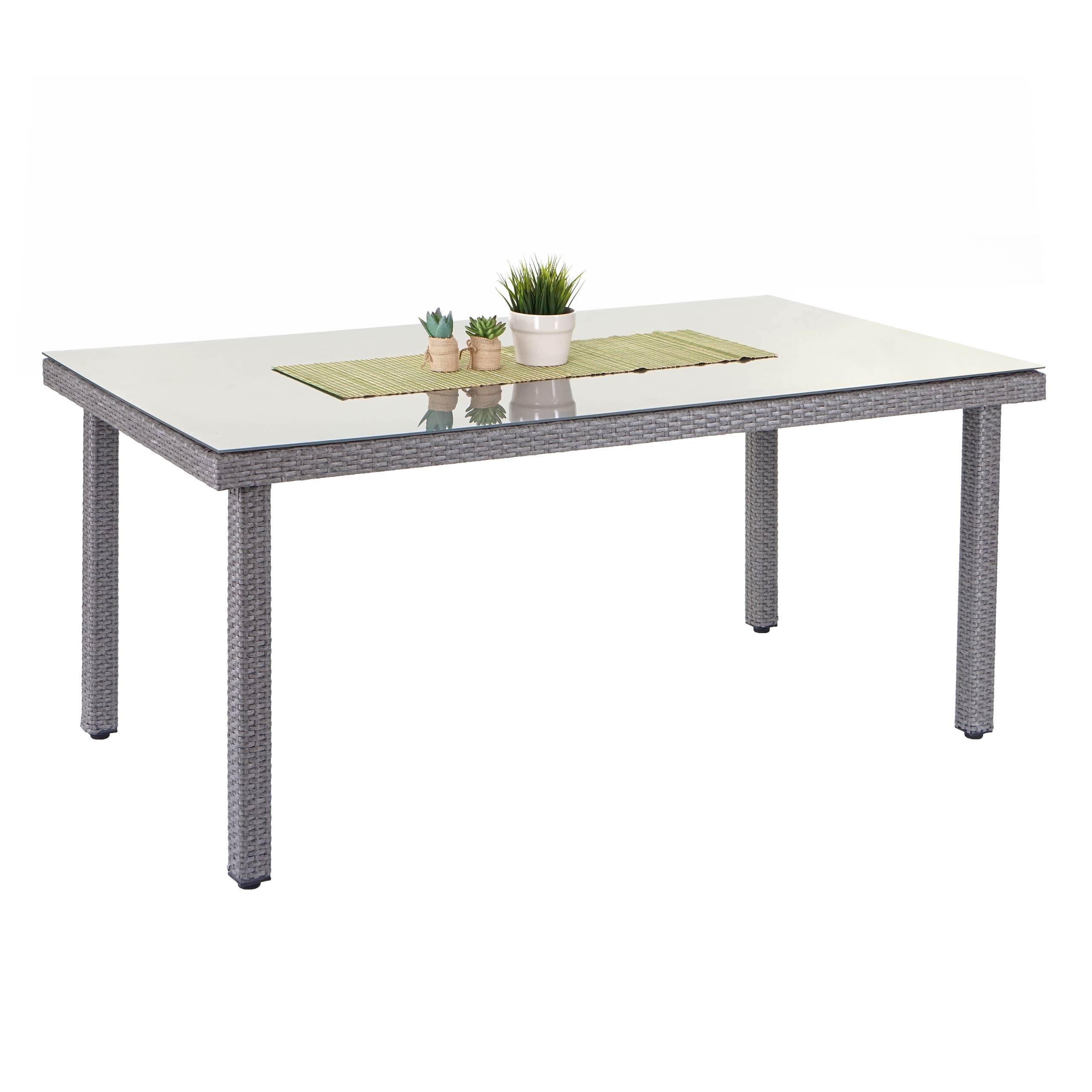 Klapptisch küche grau  Poly-Rattan Gartentisch Cava, Esstisch Tisch mit Glasplatte, 160x90x74cm ~  grau