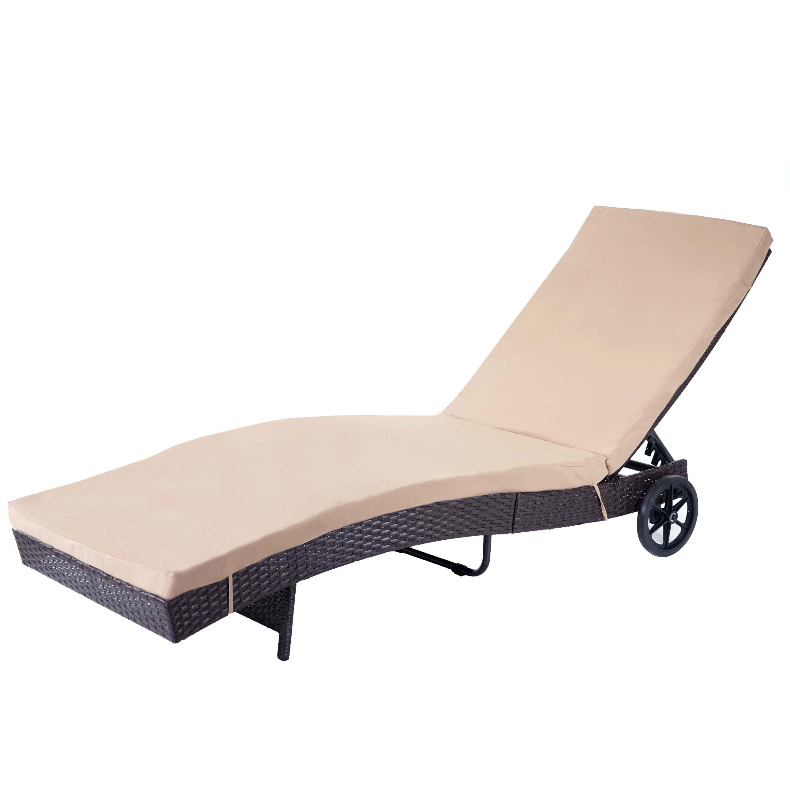 Sonnenliege HWC-D80, Gartenliege Relaxliege Liege, Poly-Rattan ~ braun,  Kissen beige