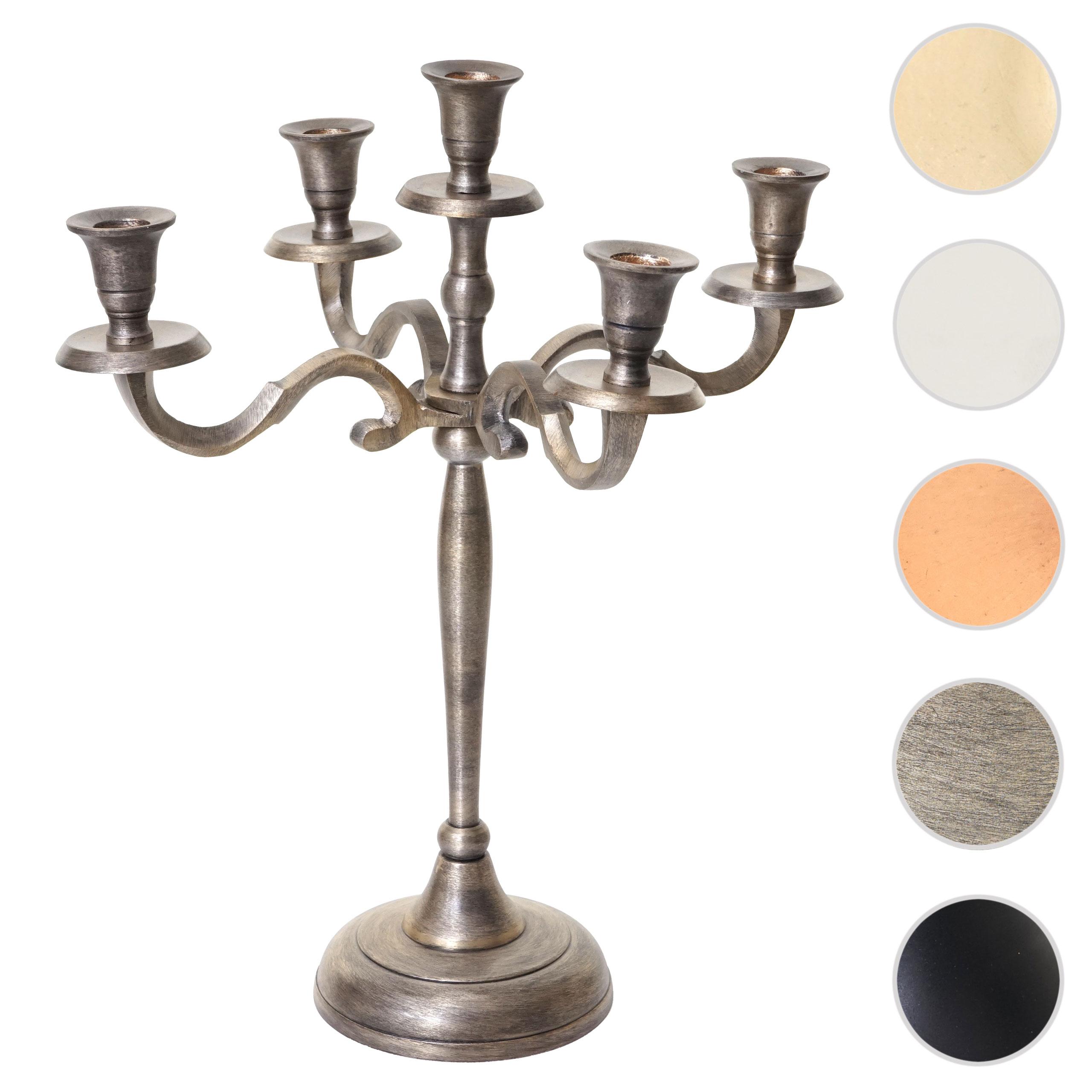 Mendler Kerzenleuchter HWC-D81, Kerzenständer Leuchter Kerzenhalter, 5-armig aus Aluminium 41cm massiv 1kg ~ 64486