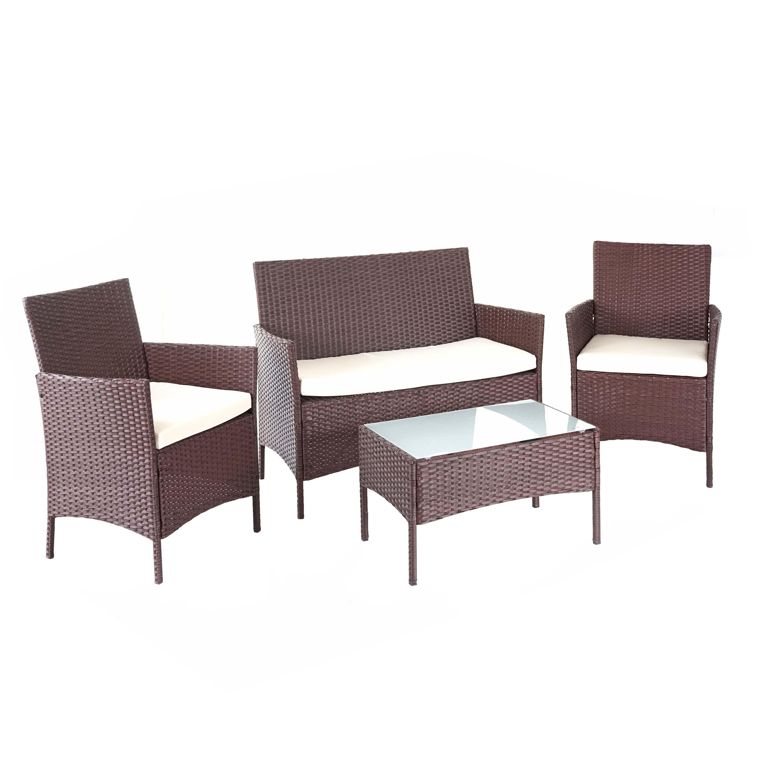 Poly Rattan Garten Garnitur HWC D20, Sitzgruppe Lounge Set ~ braun meliert  mit Kissen creme