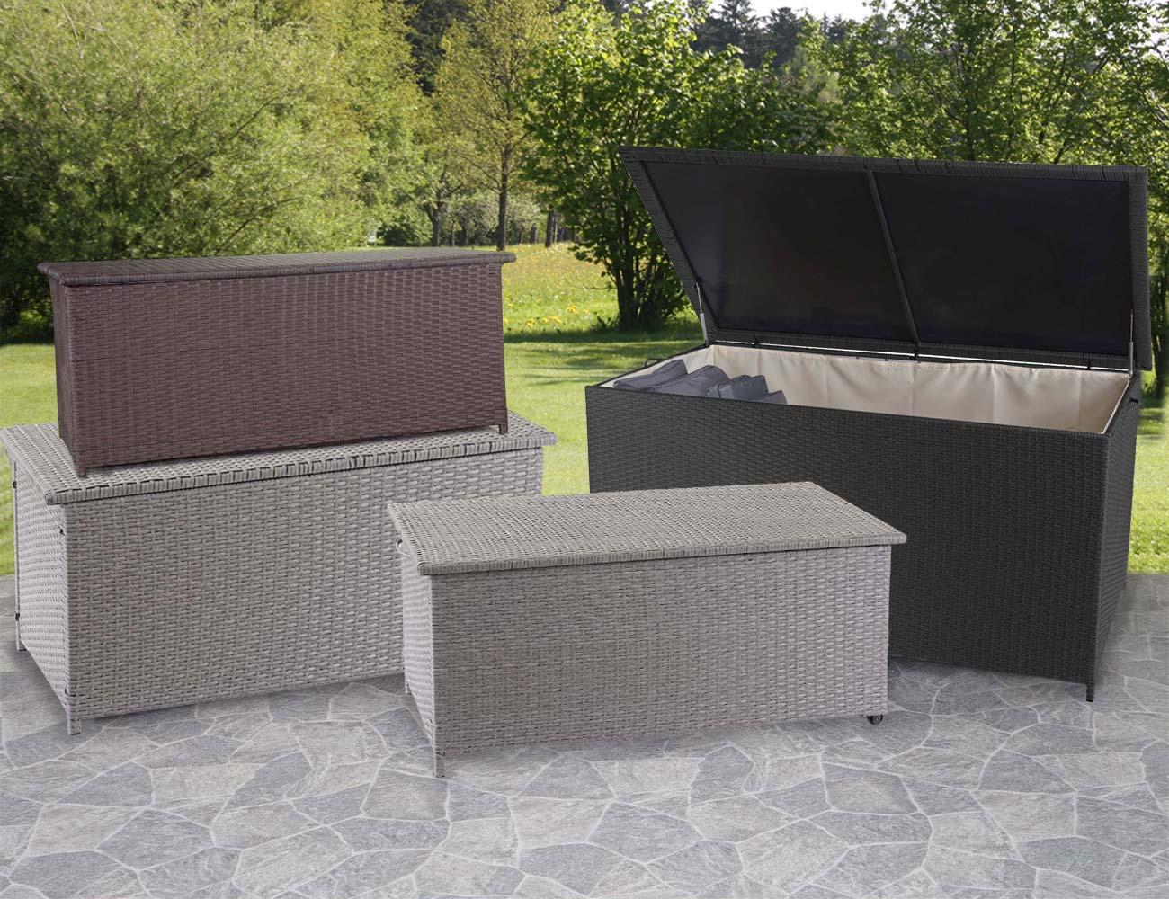Mendler Poly-Rattan Kissenbox HWC-D88, Gartentruhe Auflagenbox Truhe ~ Variantenangebot 64570