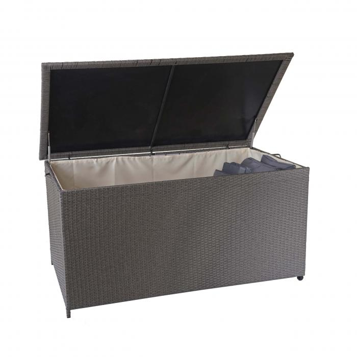 Extrem Poly-Rattan Kissenbox HWC-D88, Gartentruhe Auflagenbox Truhe IB11