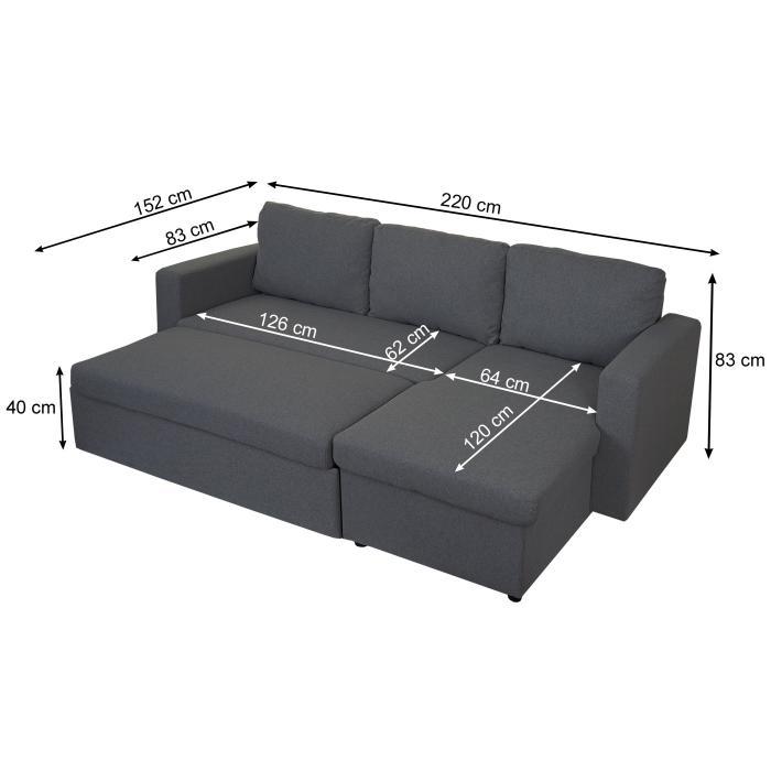Schlafsofa Hwc D92 Couch Ecksofa Sofa Schlaffunktion 220x152cm Stoff Textil Dunkelgrau Ohne Deko Kissen
