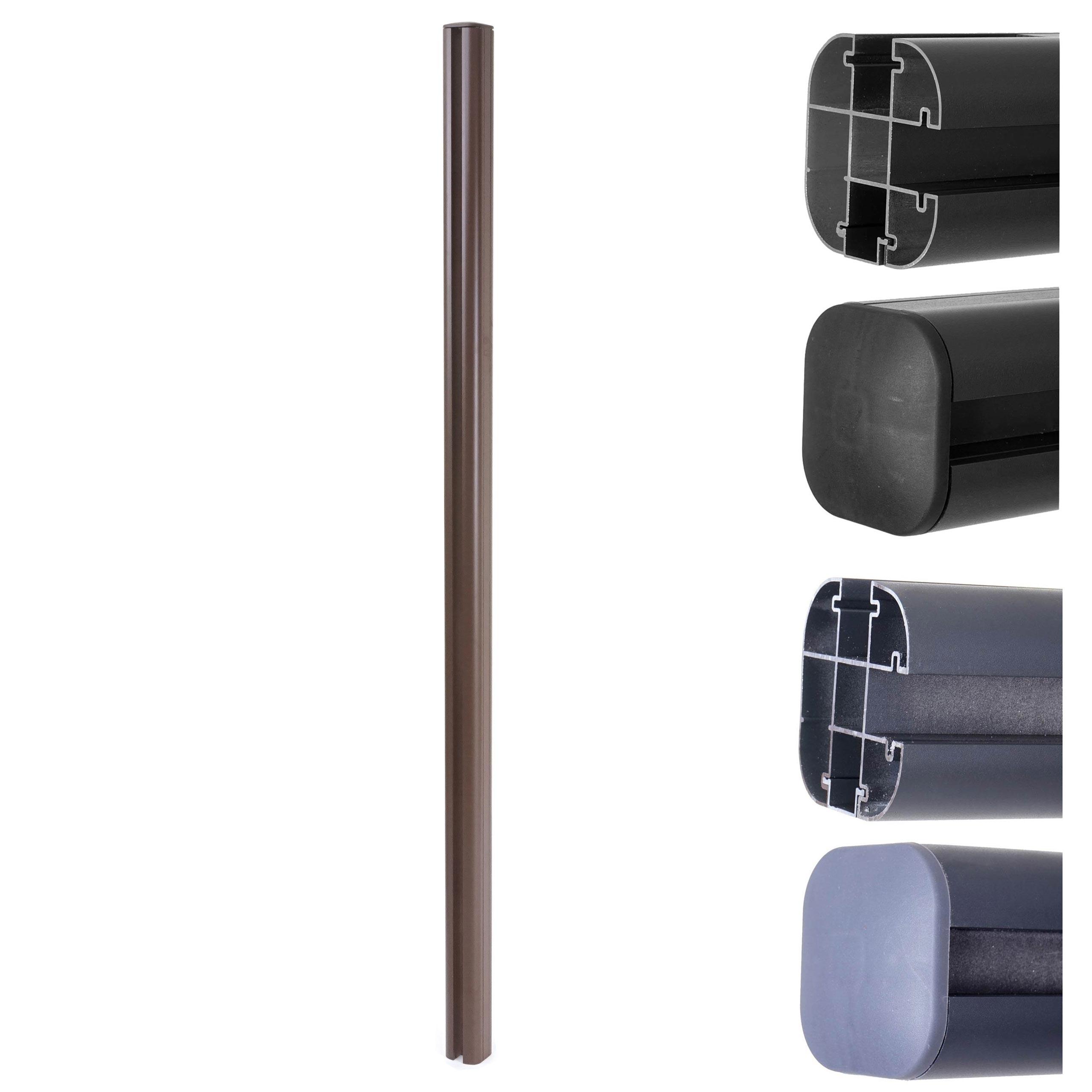Mendler Alu-Pfosten Sarthe-WPC-Zaun, Pfeiler Pfahl, Stecksystem 1,86m ~ Variantenangebot 64888