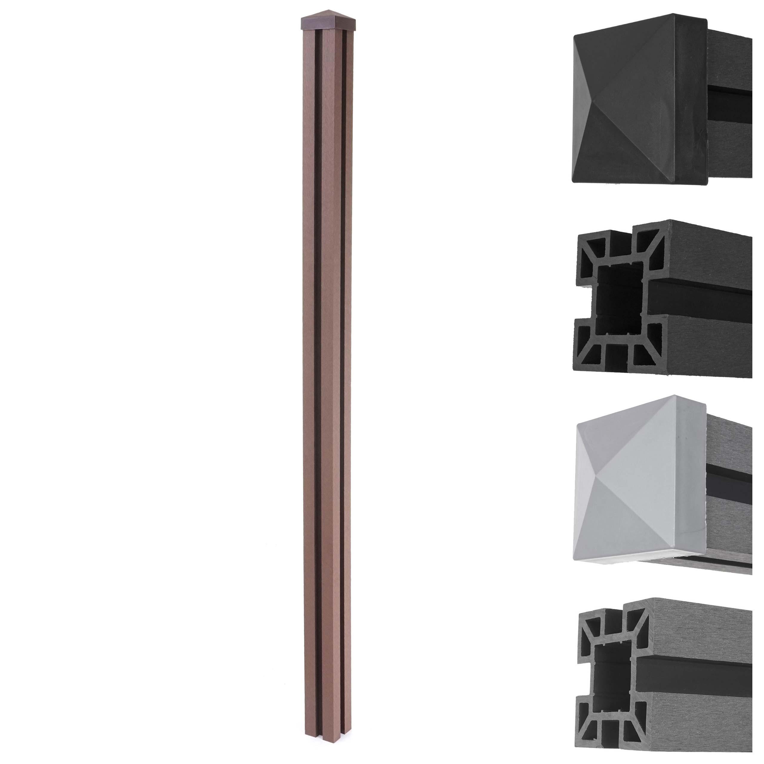 Mendler WPC-Pfosten Sarthe-WPC-Zaun, Pfeiler Pfahl, Stecksystem 1,88m ~ Variantenangebot 64890