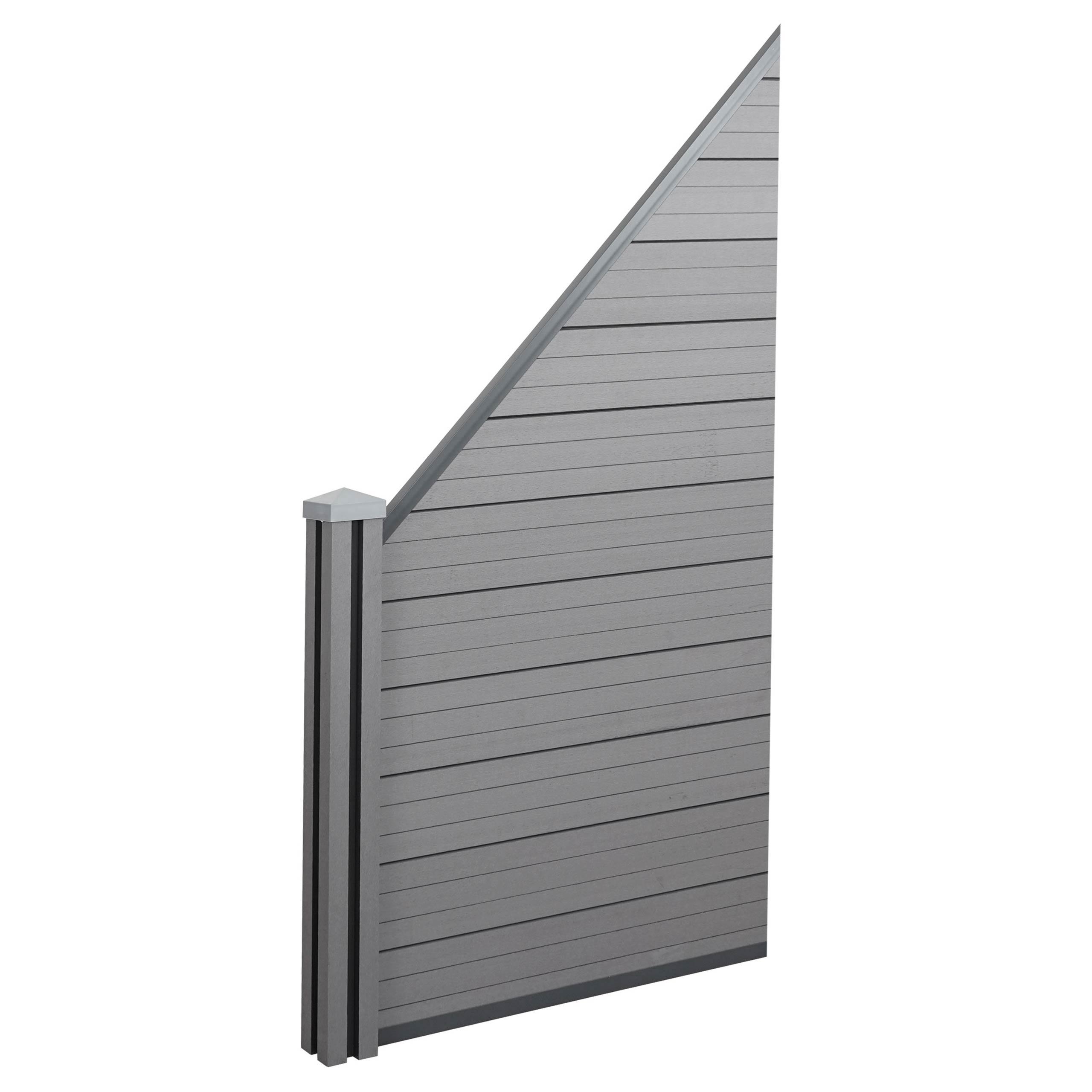 0 98m Grau Zaun Wpc Pfosten Erweiterungselement Schrag Wpc