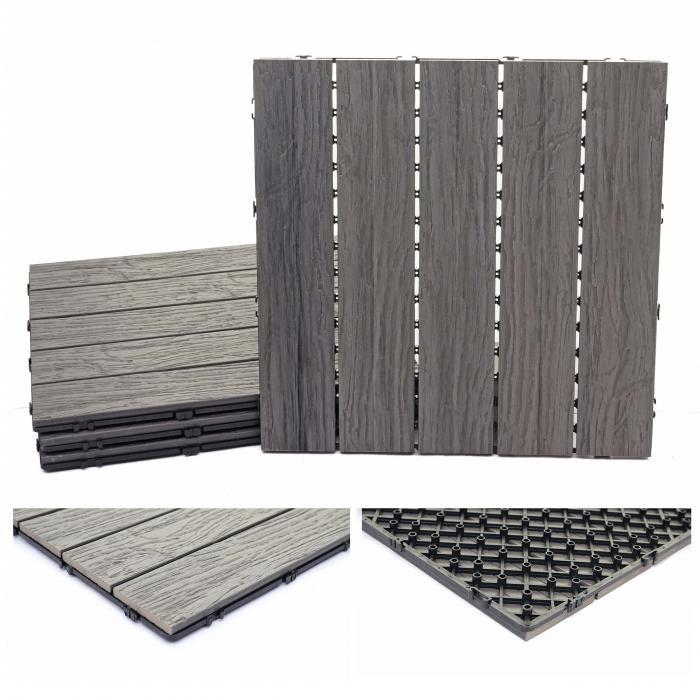WPC Bodenfliese HWC E19, Holzoptik Balkon/Terrasse, 3D Struktur Linear  Antik Braun ~ 4x Je 50x50cm U003d 1qm