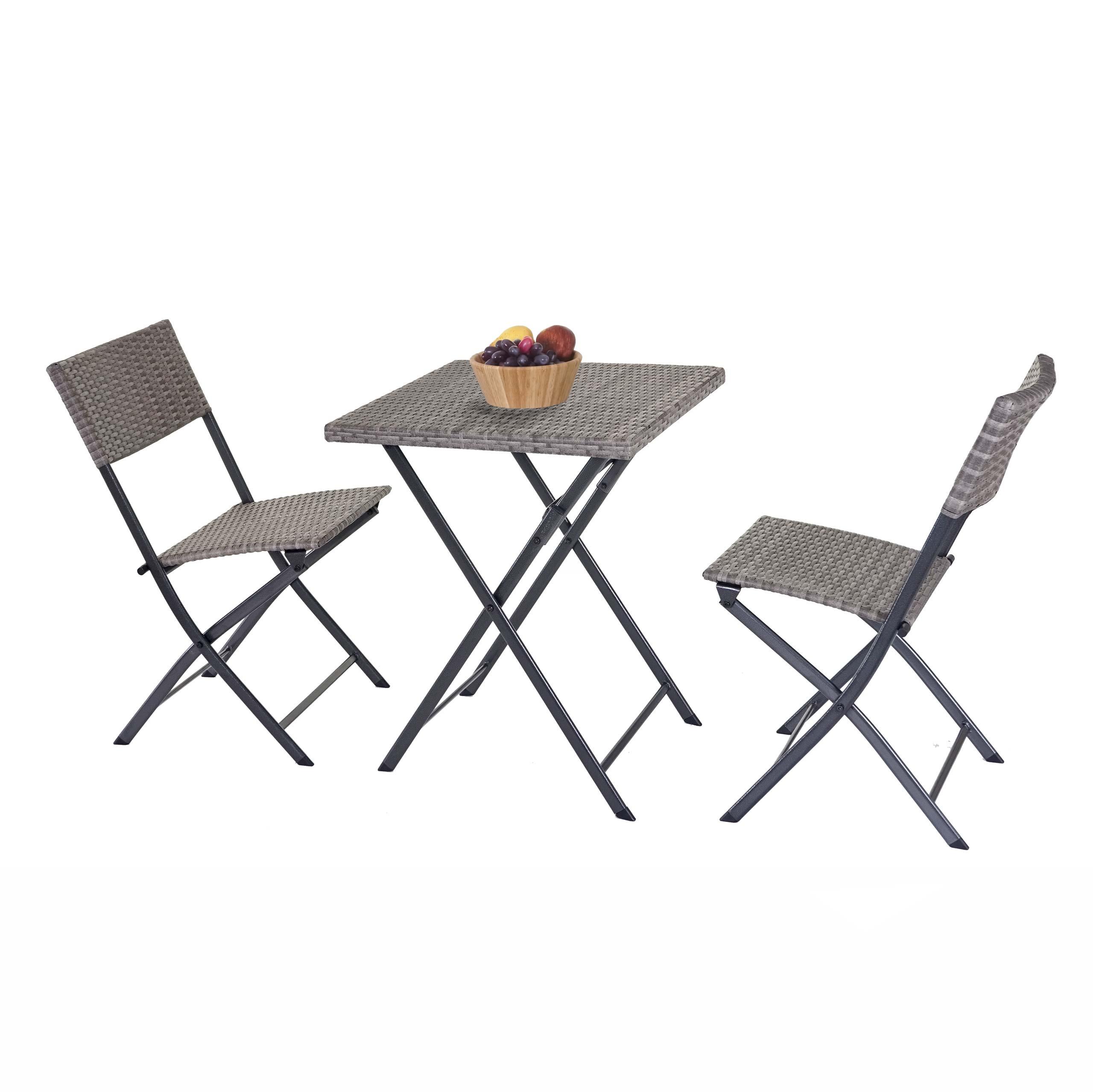 Mendler Salottino da Esterno 2X sedie con tavolino HWC-E23 polyrattan Marrone