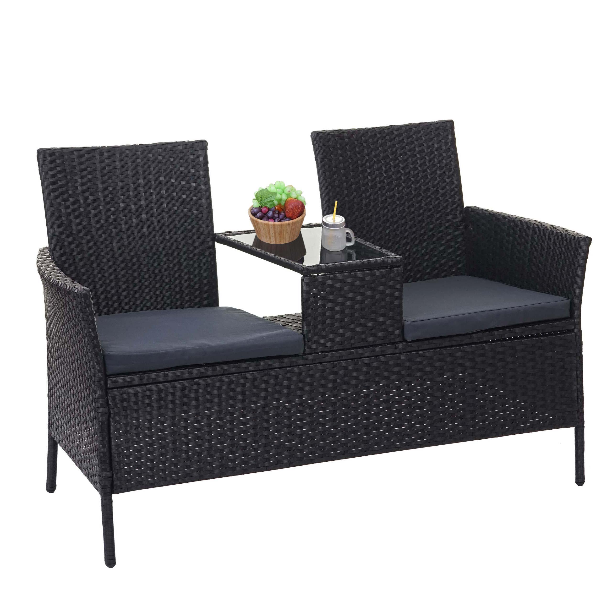 Poly-Rattan Sitzbank mit Tisch HWC-E24, Gartenbank Sitzgruppe Gartenmöbel,  132cm ~ schwarz, Kissen dunkelgrau