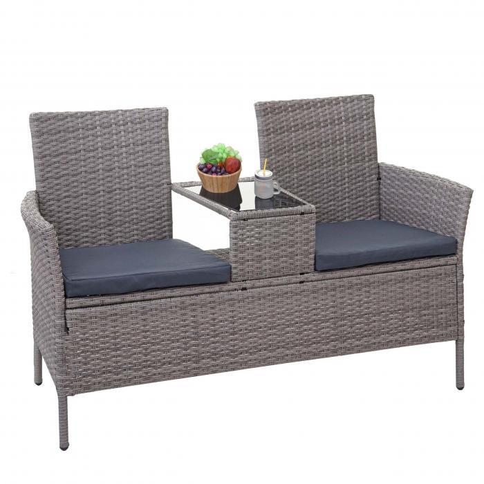 Poly Rattan Sitzbank Mit Tisch Hwc E24 Gartenbank Sitzgruppe Gartenmöbel 132cm Grau Kissen Dunkelgrau