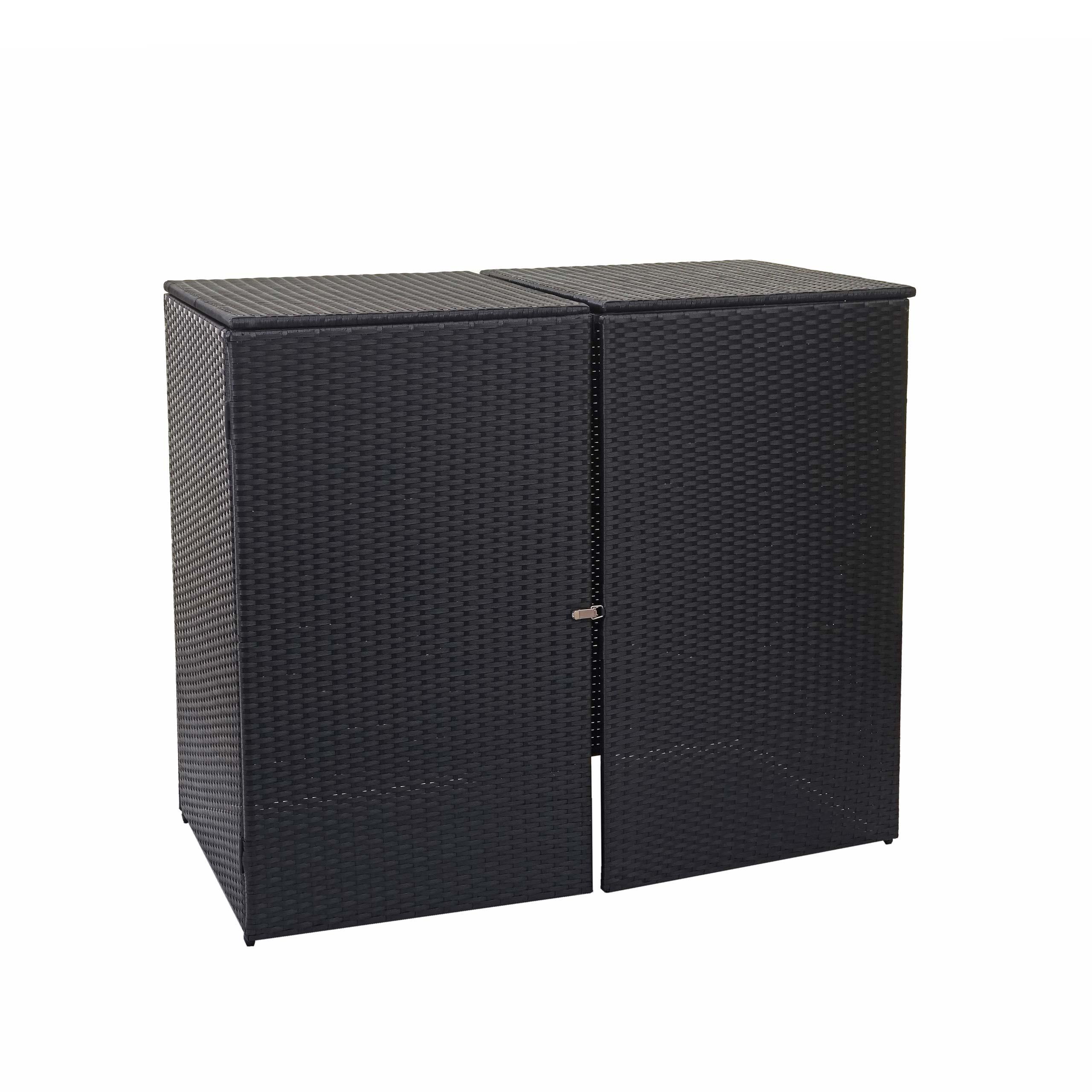 2er-Mülltonnenverkleidung MCW-E25 Mülltonnenbox Poly-Rattan 2x120l schwarz