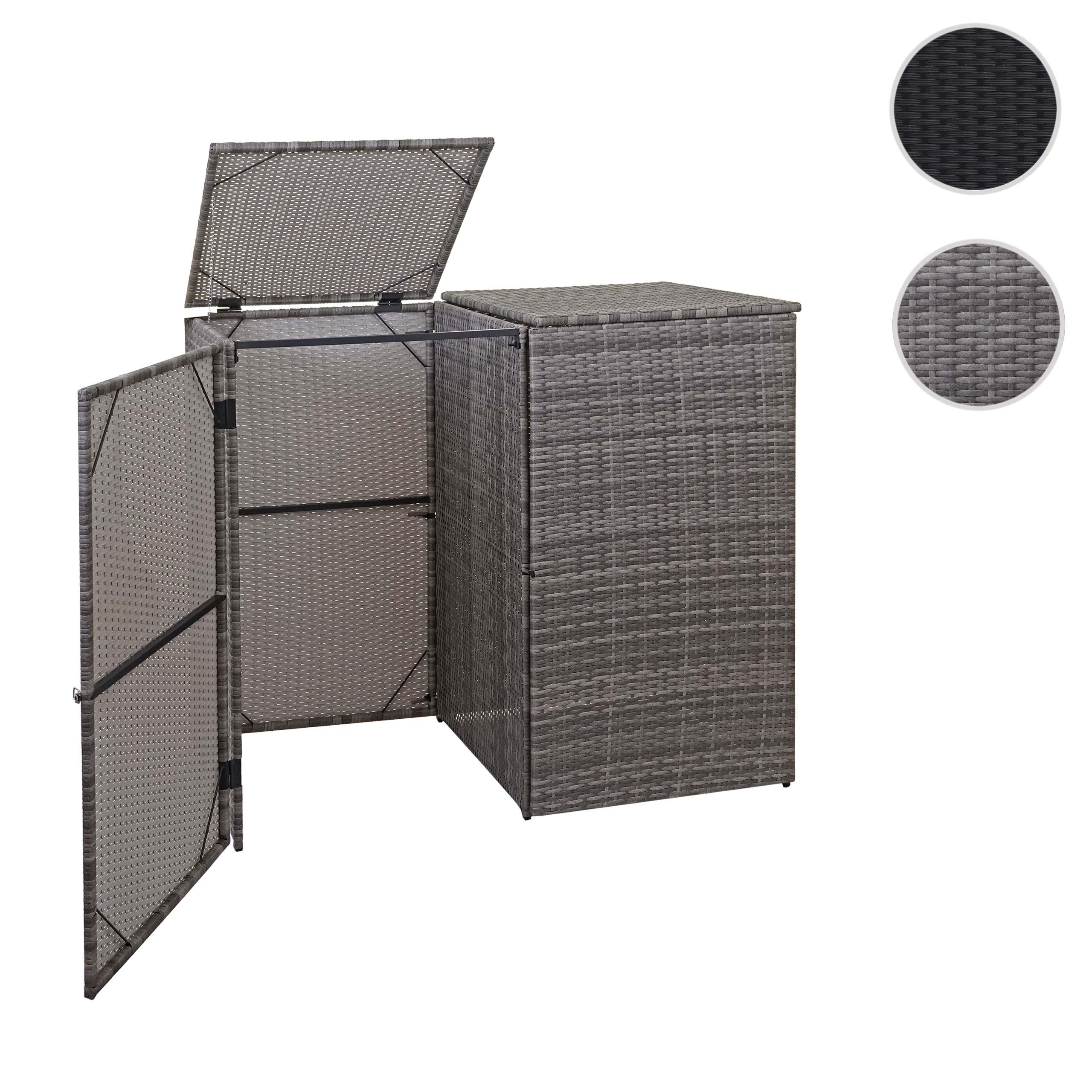 Mendler 2er-Mülltonnenverkleidung HWC-E25, Mülltonnenbox Mülltonnenabdeckung, Poly-Rattan 2x120l ~ Varianten 65257