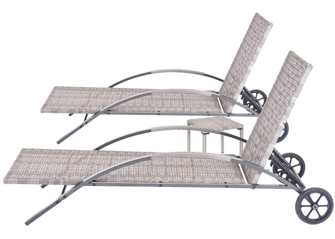 Sonnenliege HWC-E27 mit Tisch ohne Auflagen Rückenlehne hoch