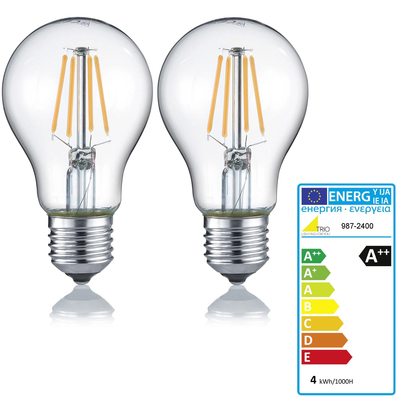 trio led leuchtmittel rl187 filament gl hbirne leuchte e27 4w warmwei eek a 2er set. Black Bedroom Furniture Sets. Home Design Ideas