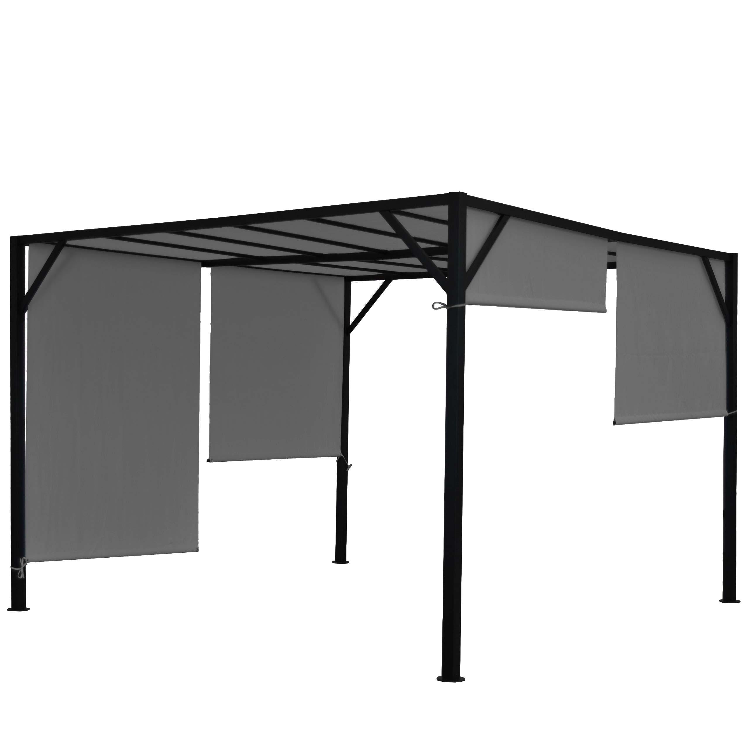Garten Pavillon stabiles 6cm-Stahl-Gestell Schiebedach 4x4m Pergola Beja
