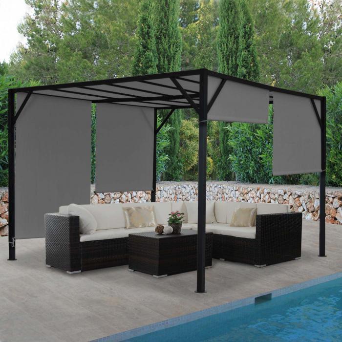 Pergola Baia, Garten Pavillon Terrassenüberdachung, Stabiles  6cm Stahl Gestell + Schiebedach Grau ~ 4x4m