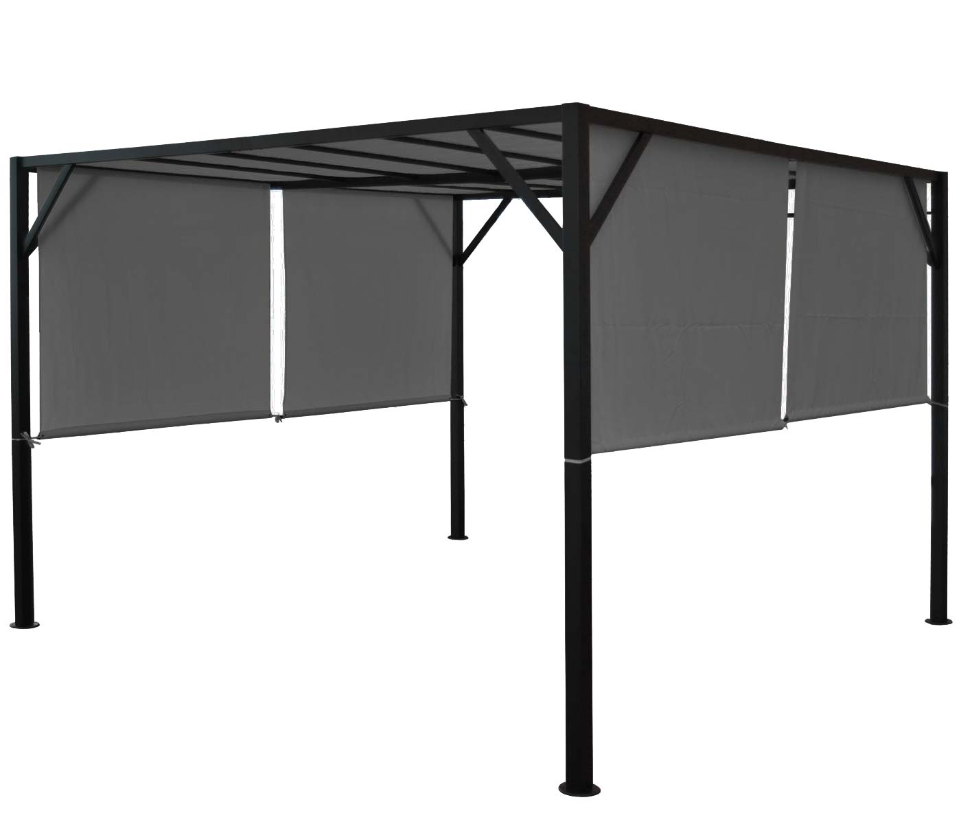 Pergola Baia, Garten Pavillon Terrassenüberdachung, stabiles 6cm-Stahl-Gestell + Schiebedach grau ~ 4x4m