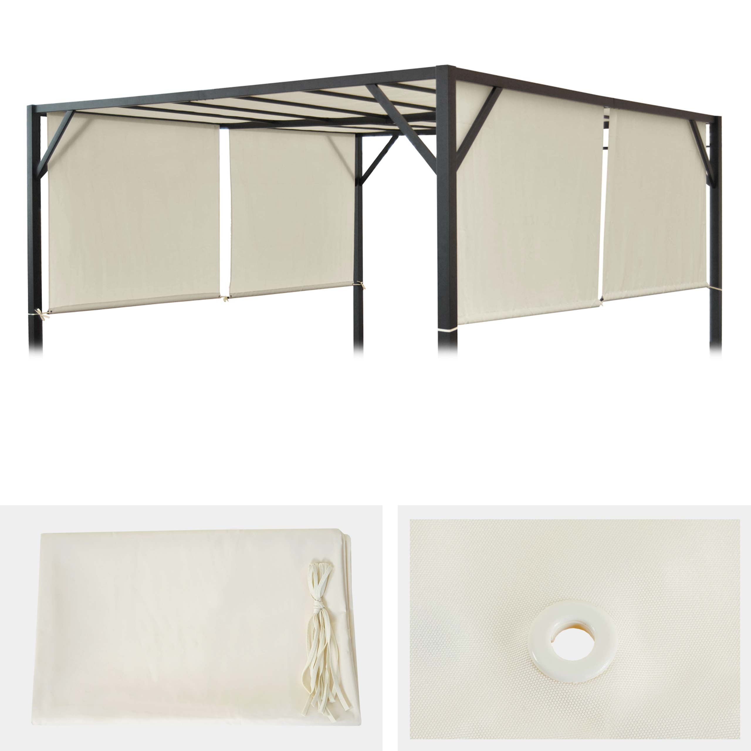ersatzbezug f r dach pergola pavillon baia 3x3m creme. Black Bedroom Furniture Sets. Home Design Ideas