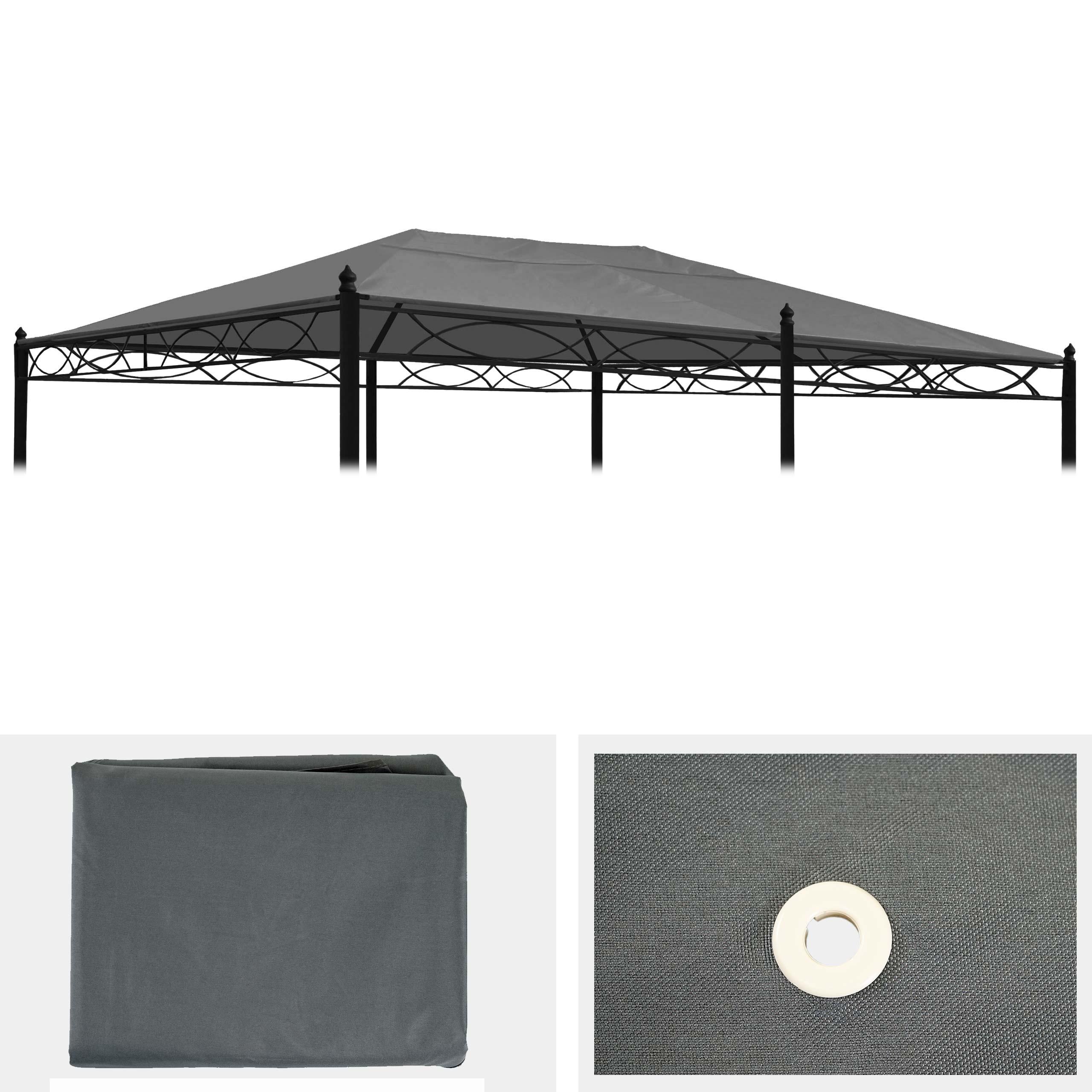 ersatzbezug f r dach pergola pavillon cadiz 5x3m grau. Black Bedroom Furniture Sets. Home Design Ideas