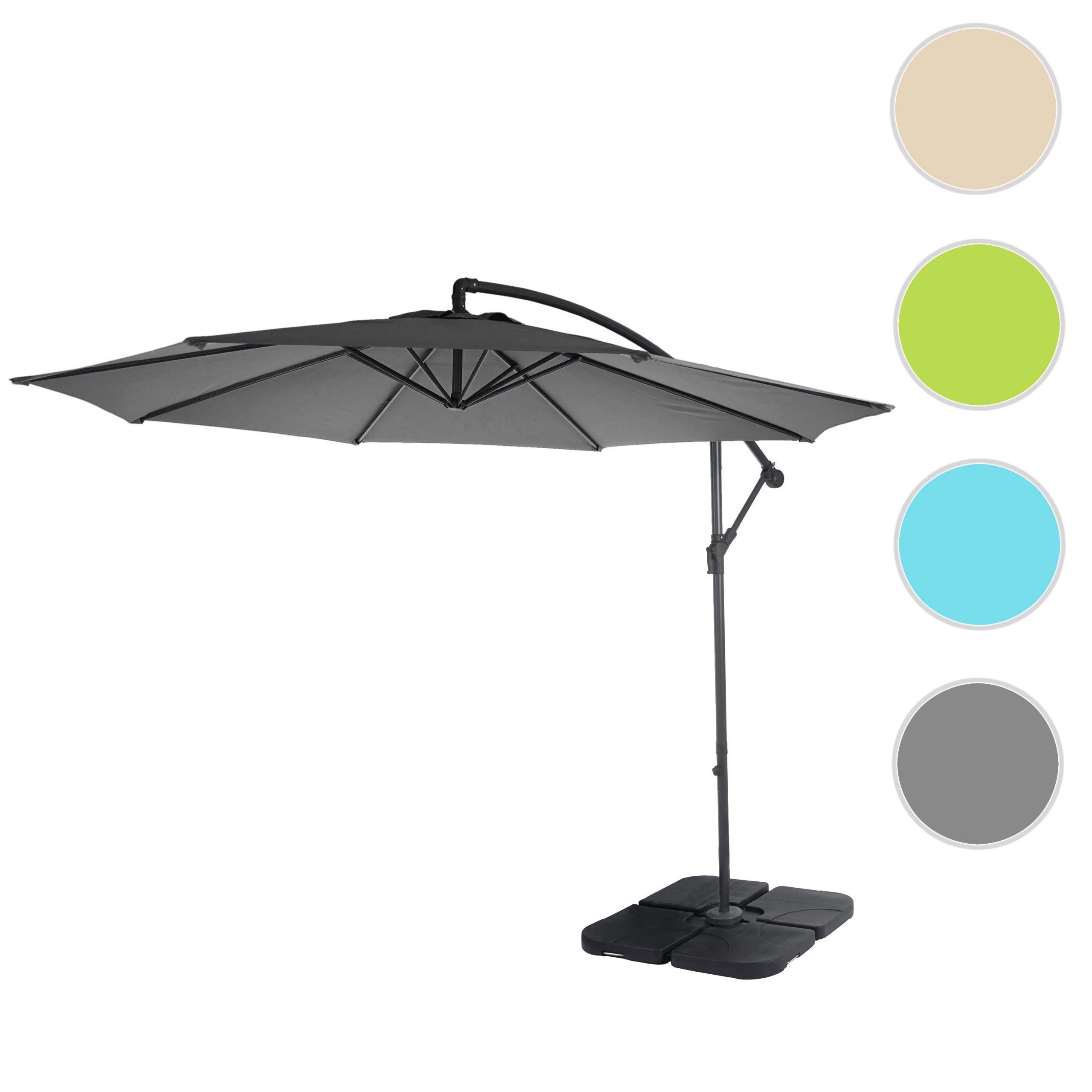 Mendler Ampelschirm Acerra, Sonnenschirm Sonnenschutz, Ř 3m neigbar, Polyester/Stahl 11kg ~ Variantenangebot 46812+31831