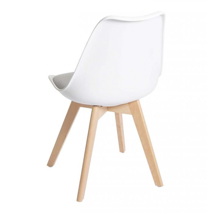 4x Esszimmerstuhl HWC E53, Stuhl Küchenstuhl, Retro Design ~ weißgrau, Stoff, helle Beine