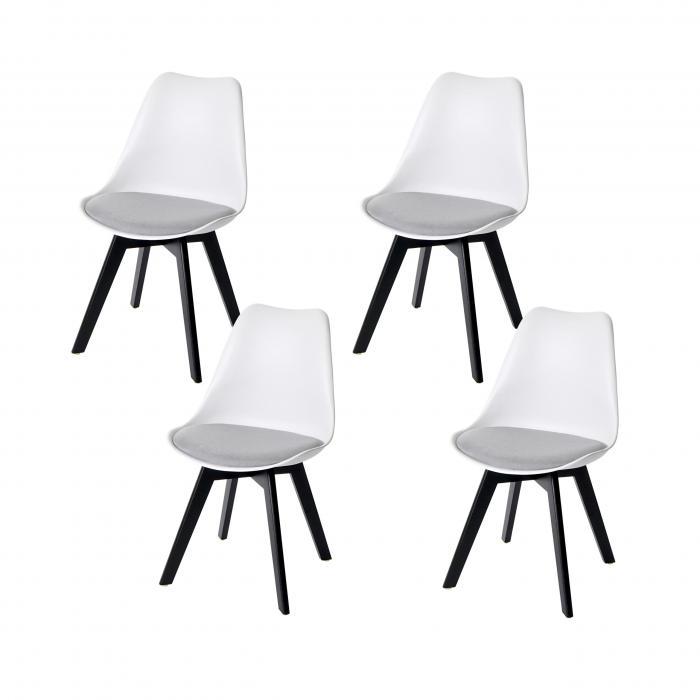 4x Esszimmerstuhl HWC E53, Stuhl Küchenstuhl, Retro Design ~ weißgrau, Stoff, schwarze Beine