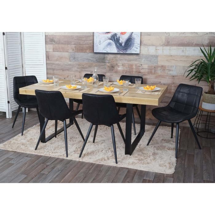 6x Esszimmerstuhl HWC E57, Stuhl Cocktailstuhl Küchenstuhl Polsterstuhl, Retro Wildleder Optik ~ StoffTextil schwarz