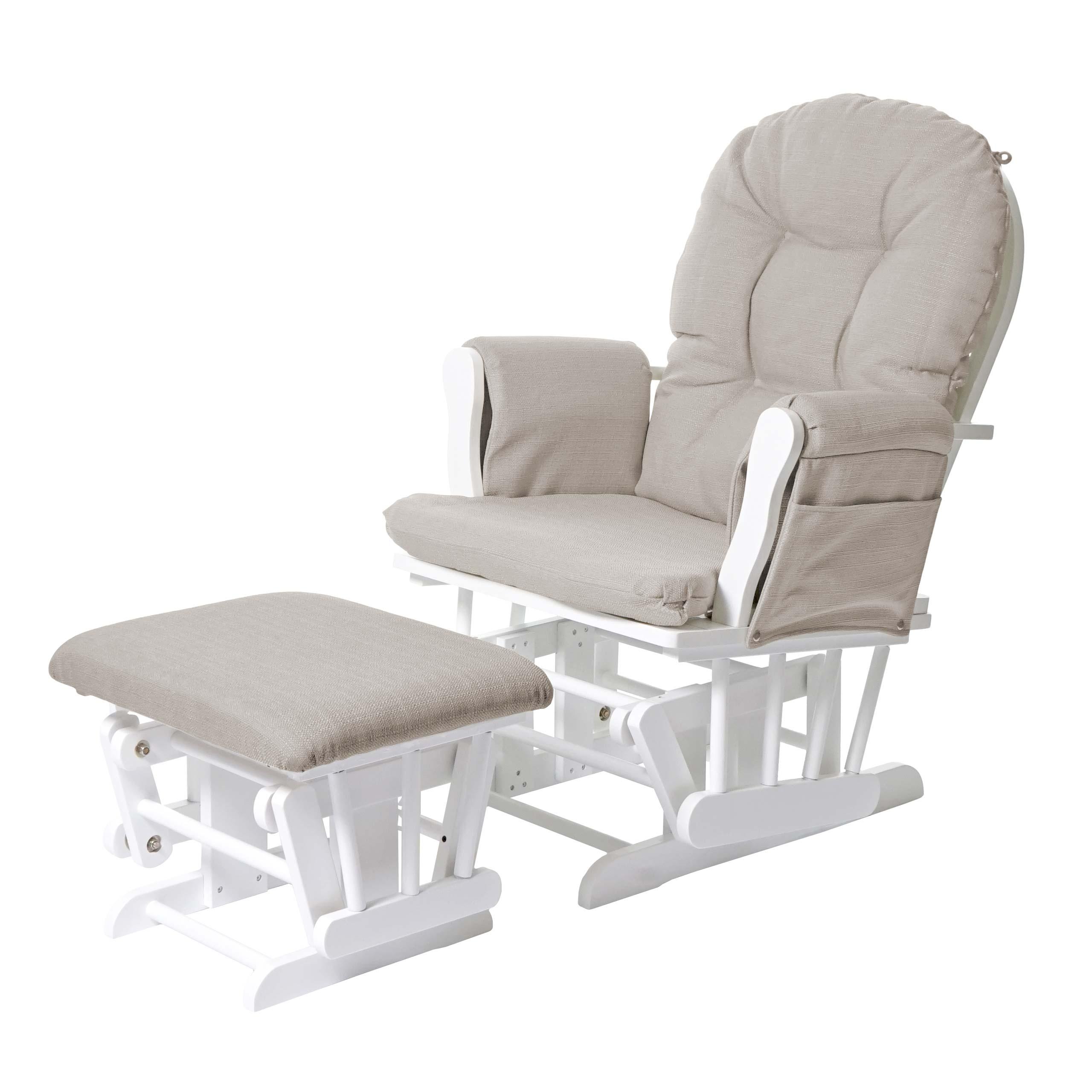relaxsessel hwc c76 schaukelstuhl sessel schwingstuhl mit hocker stoff textil creme gestell