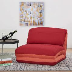 Schlafsessel HWC-E68, Schlafsofa Funktionssessel Klappsessel Relaxsessel, Stoff/Textil ~ orange/dunkelrot