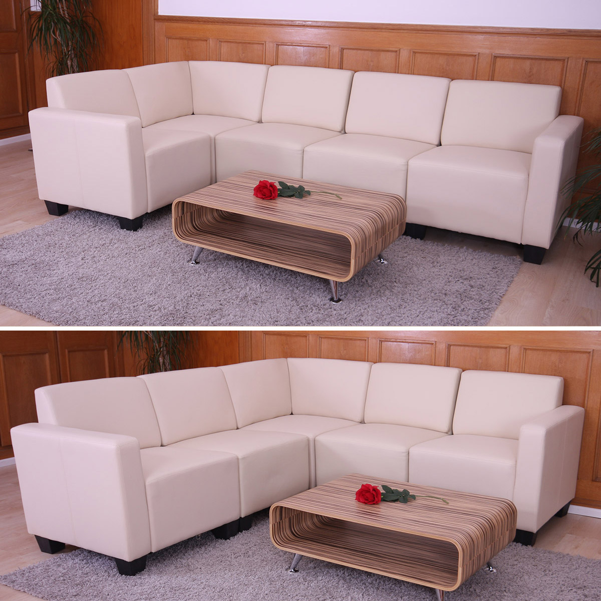 modular sofa system couch garnitur lyon 5 kunstleder creme. Black Bedroom Furniture Sets. Home Design Ideas