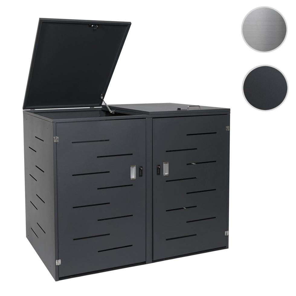Box Per Bidoni Spazzatura dettagli su 2x copribidoni box spazzatura rifiuti hwc-e83 80x131x116,5cm  acciaio