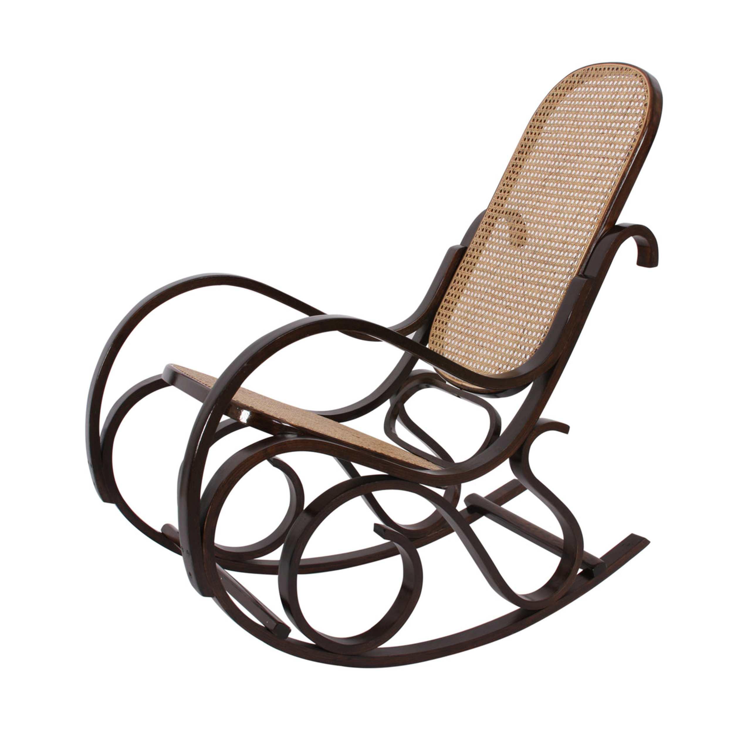 Schaukelstuhl schwingsessel m41 aus holz walnuss rattan for Schaukelstuhl outdoor rattan