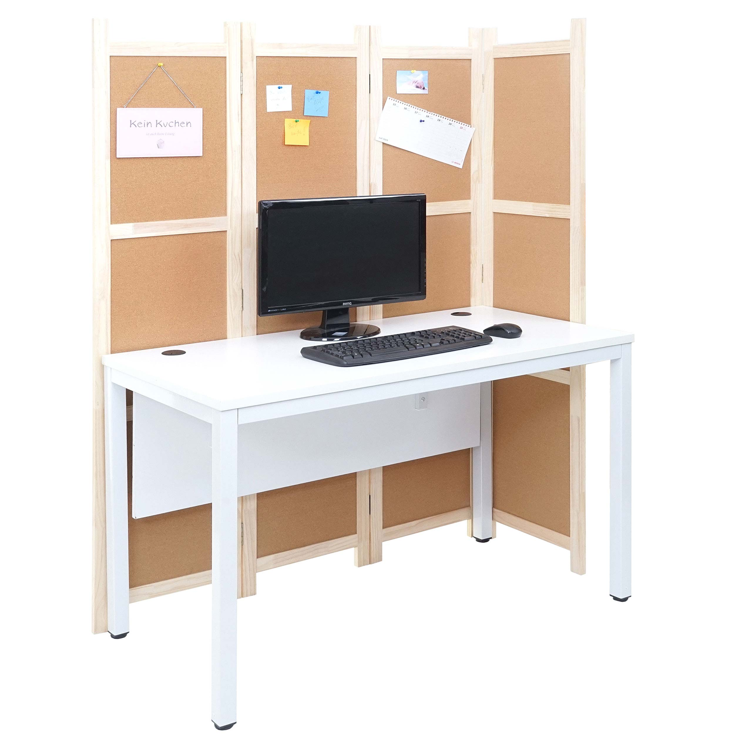 Mendler Schreibtisch HWC-E94, Bürotisch Computertisch mit Trennwand Pinnwand Sichtschutz ~ Variantenangebot 69172+69454