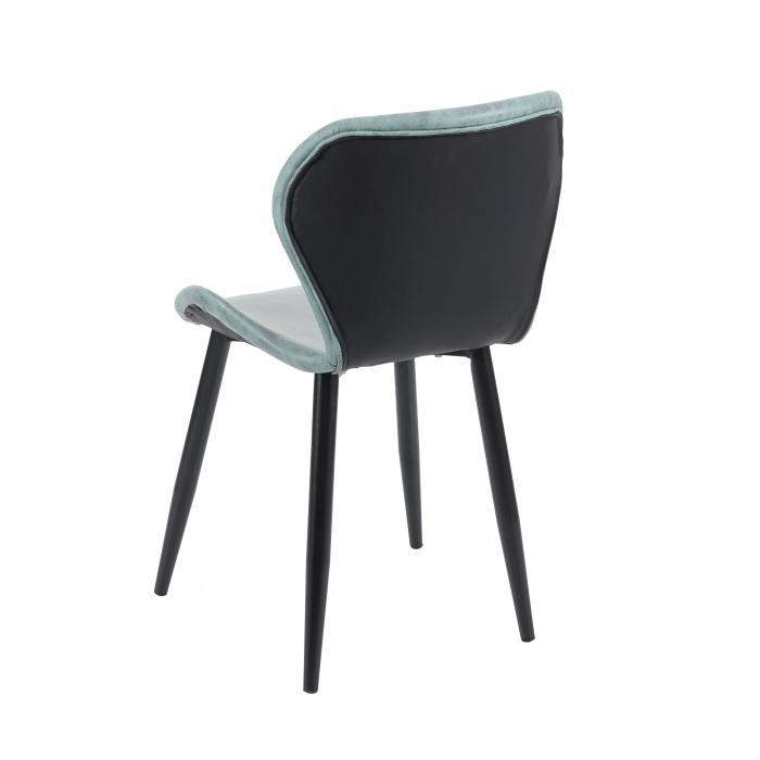 6x Esszimmerstuhl HWC F24, Stuhl Küchenstuhl, geschwungene Sitzform Kunstleder ~ grau grün