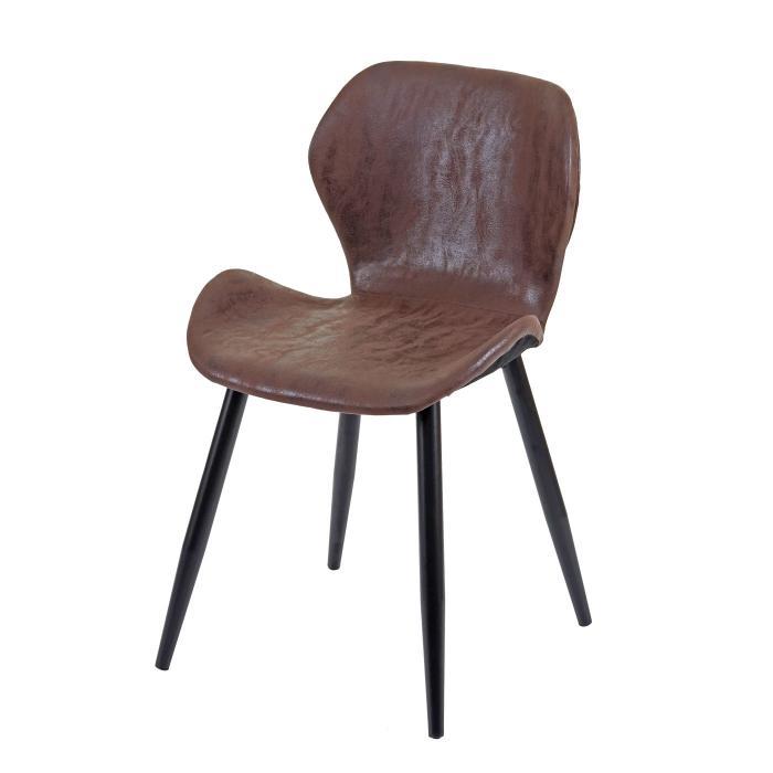6x Esszimmerstuhl HWC F24, Stuhl Küchenstuhl, geschwungene Sitzform Kunstleder ~ braun