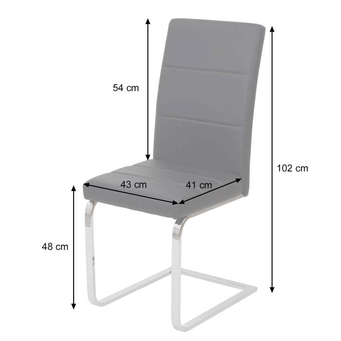 Freischwinger Küchenstuhl Kunstleder Chrom 2x Esszimmerstuhl HWC-F27