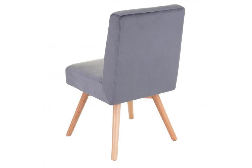 Esszimmerstuhl HWC F38, Stuhl Küchenstuhl, Retro Design Samt ~ grau