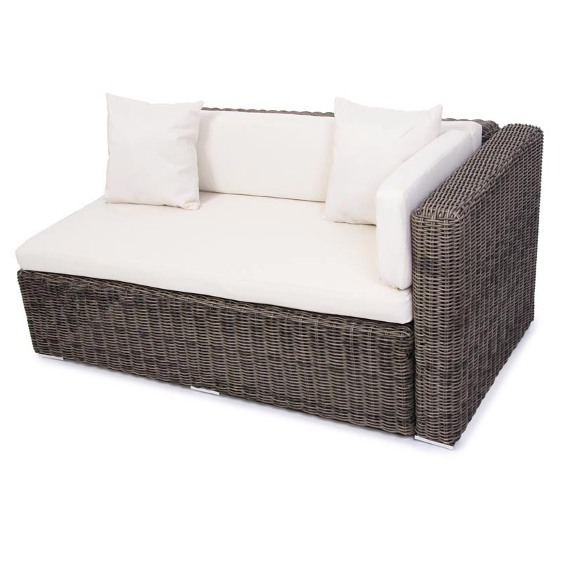 modulares luxus alu sofa romv rundes poly rattan grau ebay. Black Bedroom Furniture Sets. Home Design Ideas