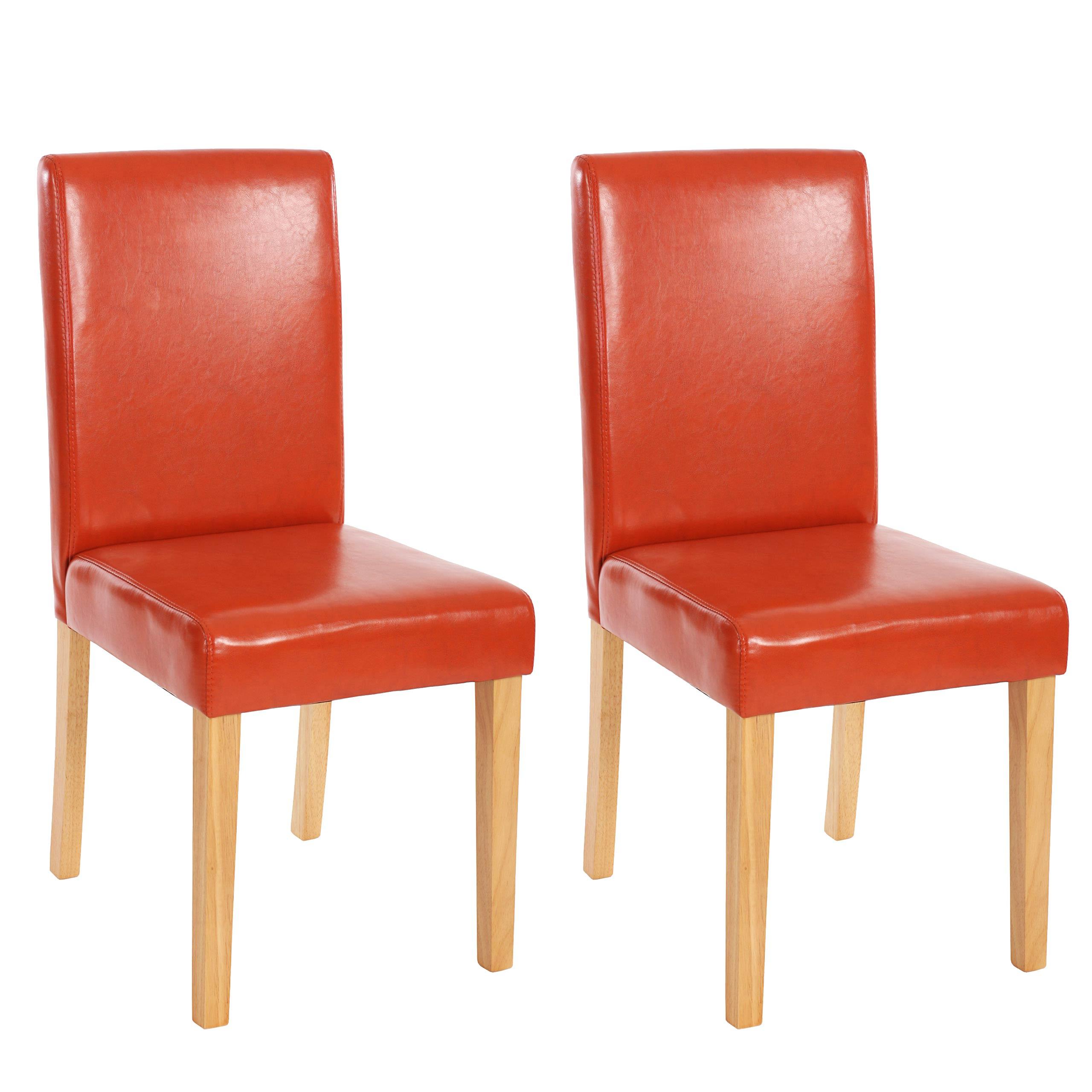 lot de 2 chaises de s jour littau simili cuir pieds clairs fonc s coloris div ebay. Black Bedroom Furniture Sets. Home Design Ideas