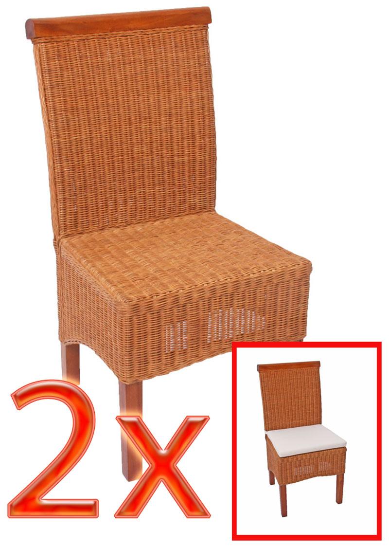 Mendler 2x Esszimmerstuhl Korbstuhl Stuhl M42, Rattan ~ Variantenangebot 12403