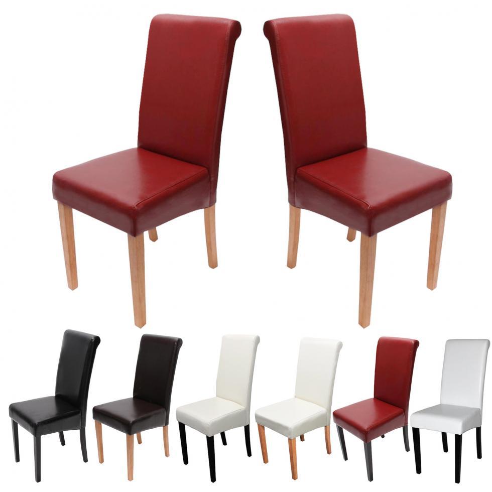 2x esszimmerstuhl stuhl novara ii leder schwarz creme for Design stuhl rot
