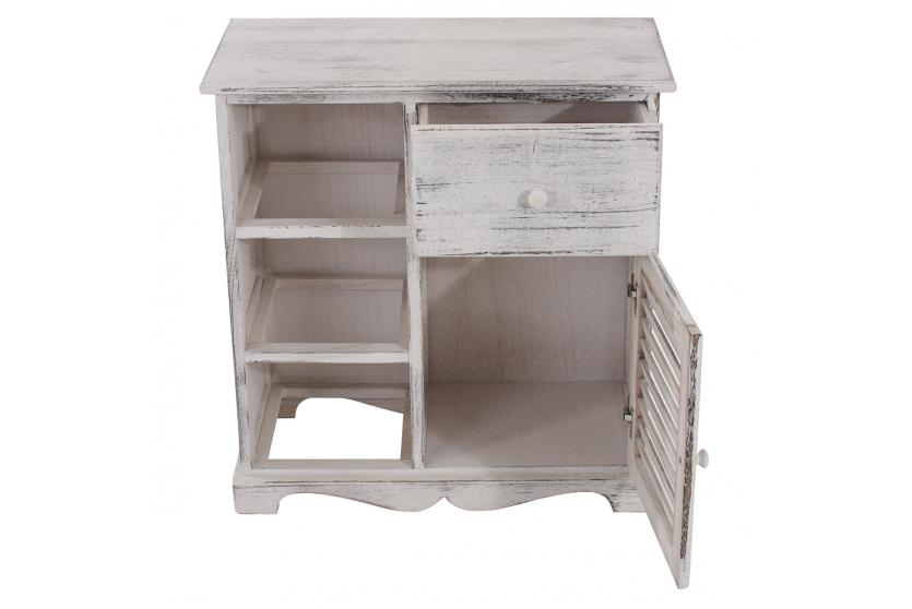 kommode schrank mit 3 k rben 63x60x30cm shabby look vintage wei. Black Bedroom Furniture Sets. Home Design Ideas