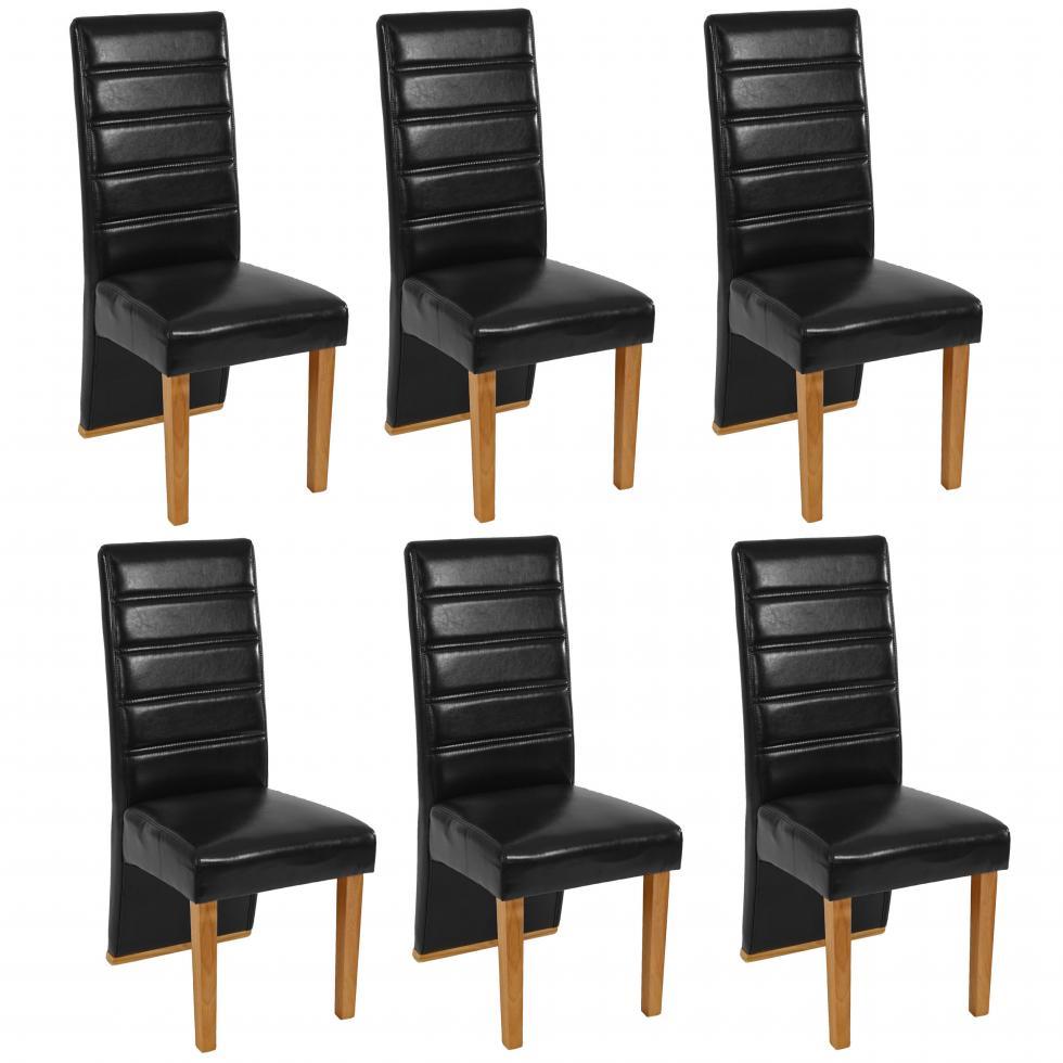 6x esszimmerstuhl loeben kunstleder schwarz helle beine. Black Bedroom Furniture Sets. Home Design Ideas